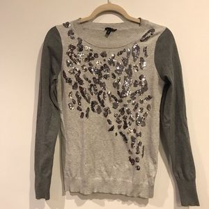 Express sweater with cheetah print sequins